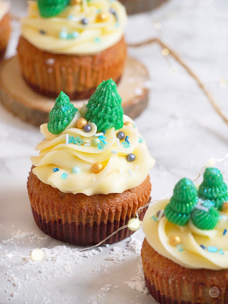 Cupcakes Saludables con buttercream de chocolate & jengibre de Navidad - Healthy Christmas Cupcakes with buttercream to chocolate & gingerbread